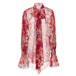 PRABAL GURUNG Ruched Cuff Tie Neck Floral Blouse
